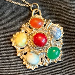 Medallion Silver Tone & Multi Color Glass Pendant
